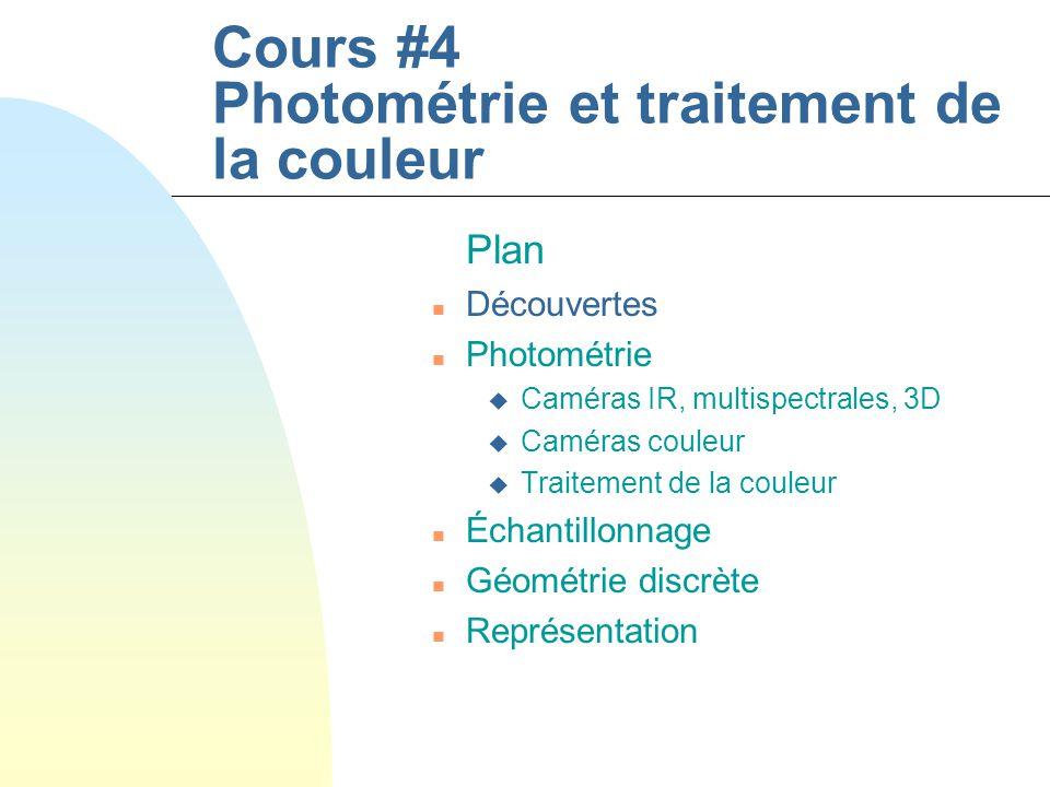 Cours #4 Photométrie et traitement de la couleur