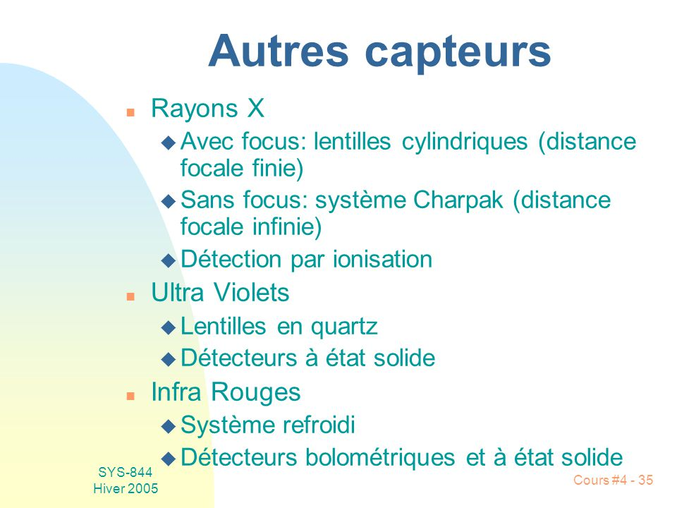Autres capteurs Rayons X Ultra Violets Infra Rouges