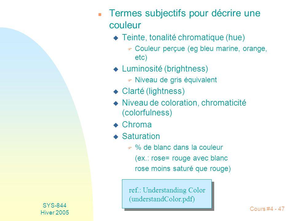 Termes subjectifs pour décrire une couleur