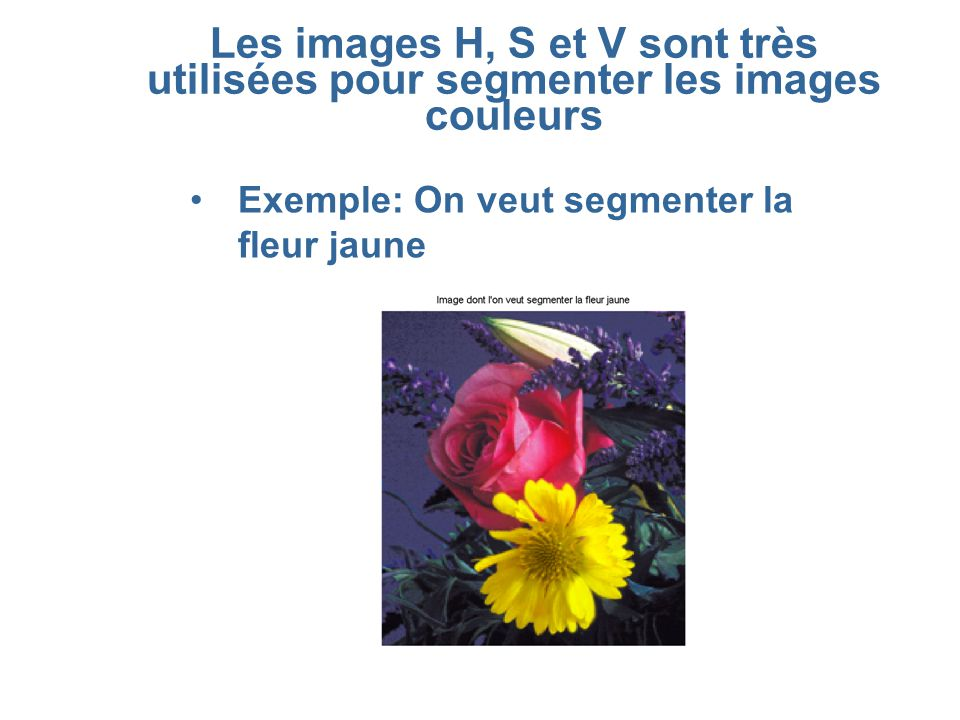 Les images H, S et V sont très utilisées pour segmenter les images couleurs