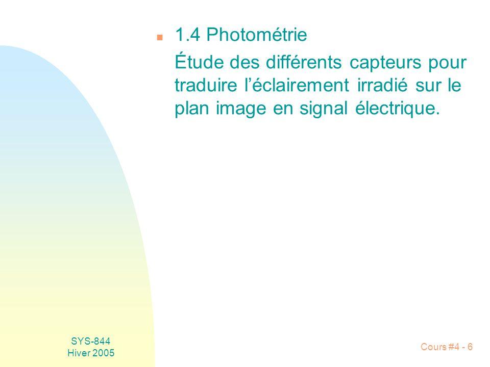 1.4 Photométrie Étude des différents capteurs pour traduire l'éclairement irradié sur le plan image en signal électrique.