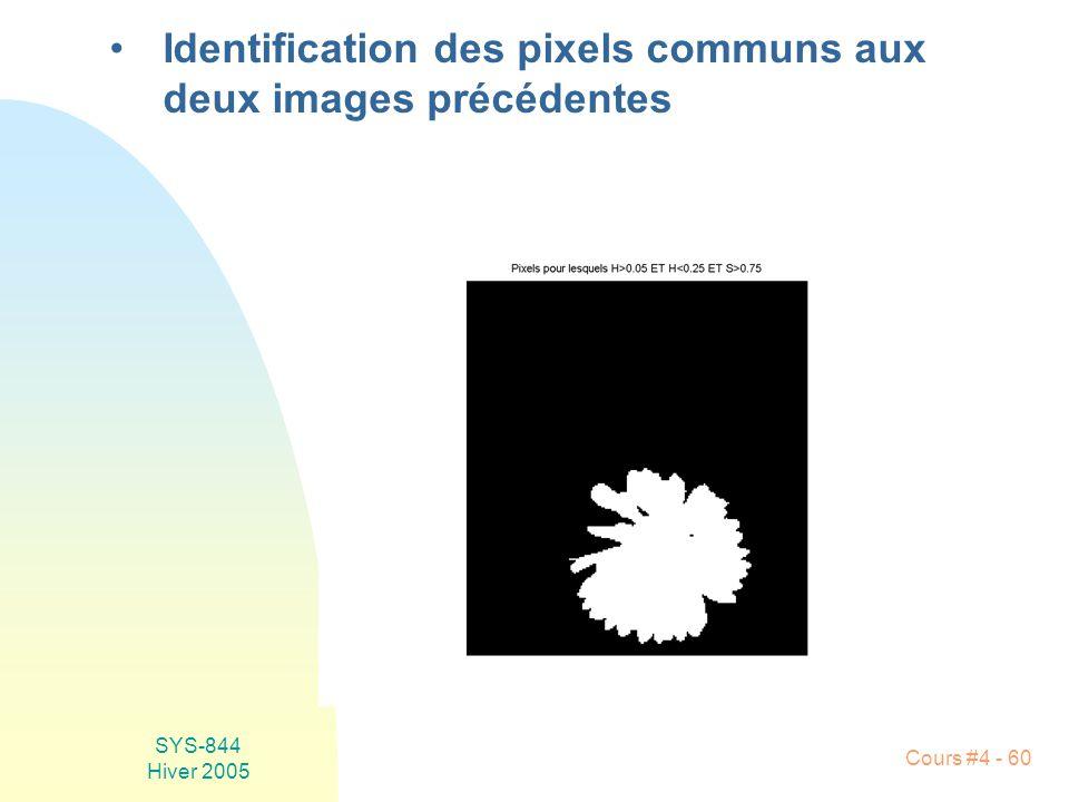 Identification des pixels communs aux deux images précédentes