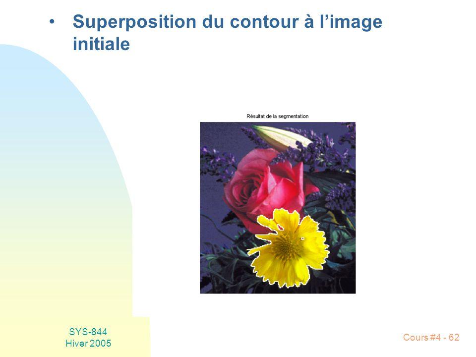 Superposition du contour à l'image initiale