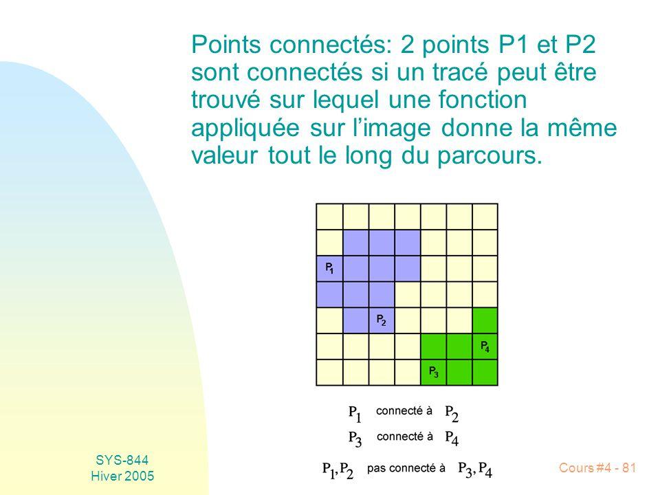 Points connectés: 2 points P1 et P2 sont connectés si un tracé peut être trouvé sur lequel une fonction appliquée sur l'image donne la même valeur tout le long du parcours.