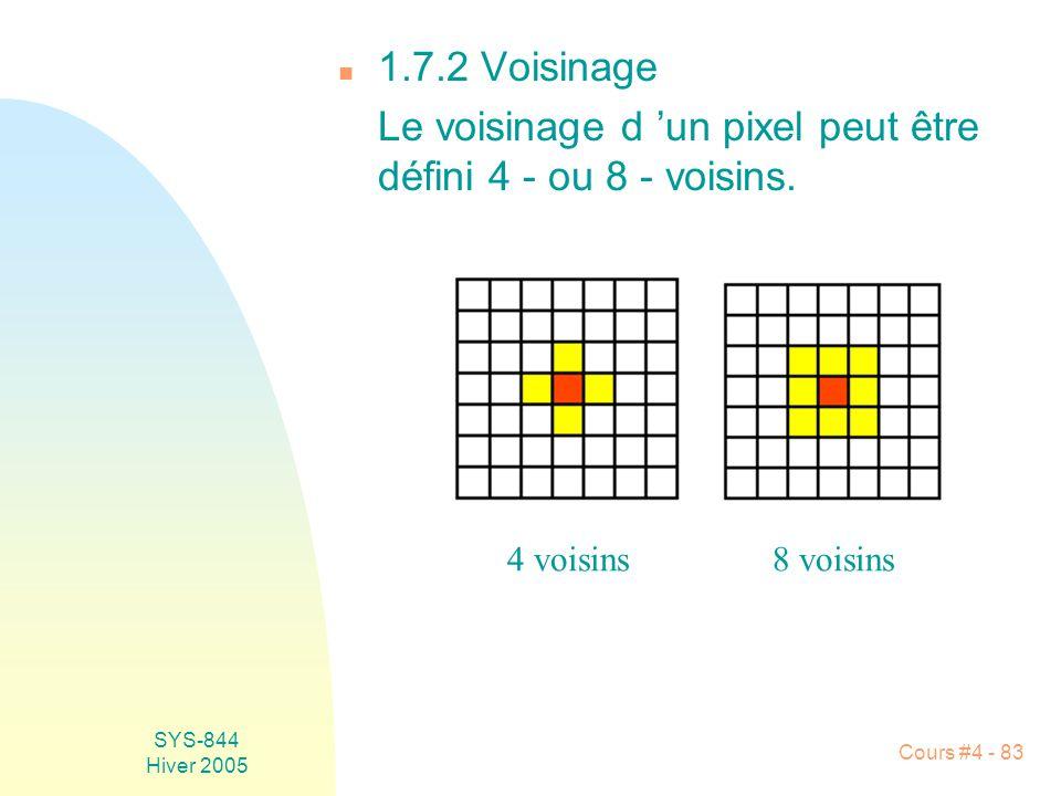 Le voisinage d 'un pixel peut être défini 4 - ou 8 - voisins.
