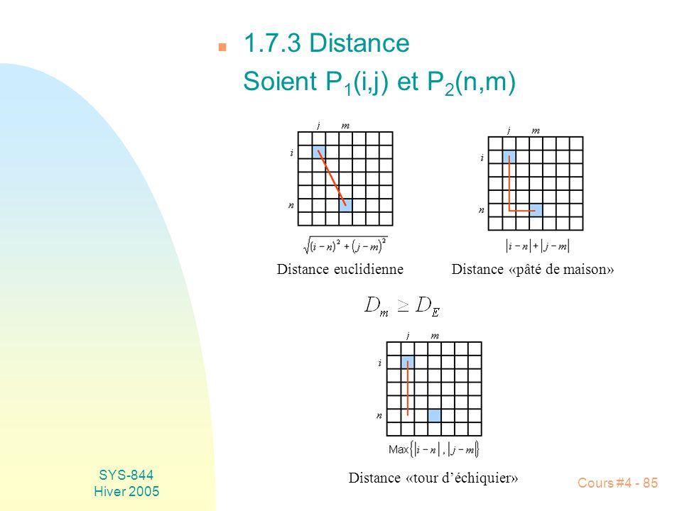 1.7.3 Distance Soient P1(i,j) et P2(n,m) Distance euclidienne