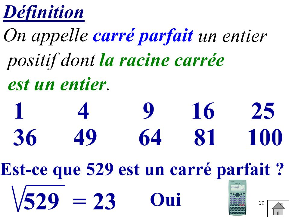 DéfinitionOn appelle carré parfait. un entier. positif dont. la racine carrée. est un entier. 1. 4.