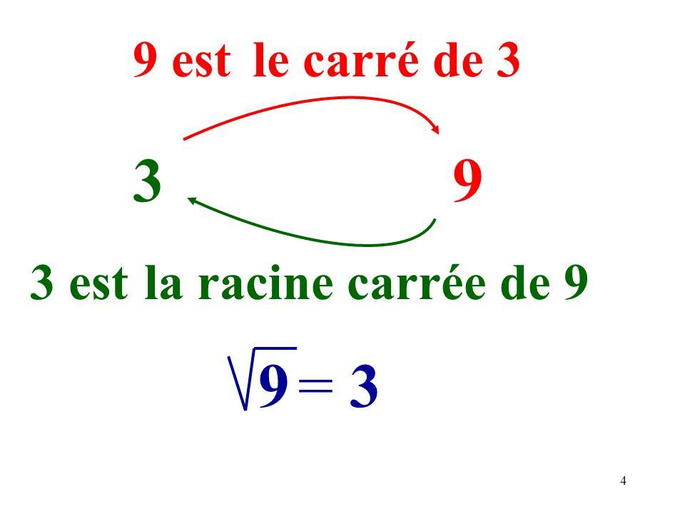 9 est le carré de 3 3 9 3 est la racine carrée de 9 9 = 3