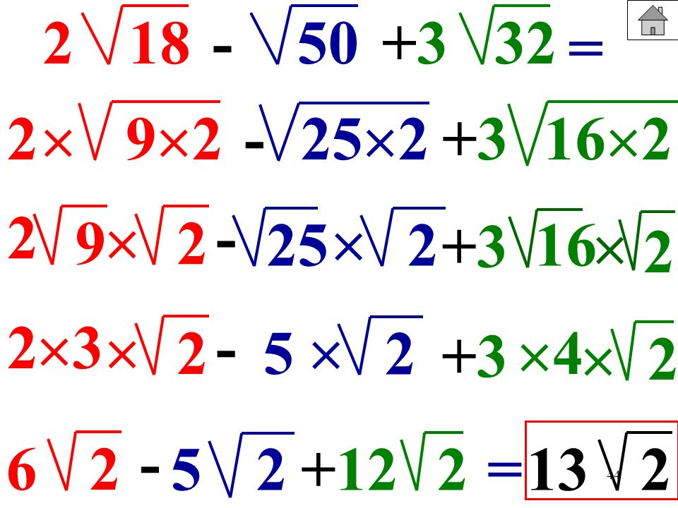 218. - 50. +3. 32. = 2.  92. - 252. +3. 162. 2. 9.  - 2. 25.  2. +3. 16.  2. 2. 3.  - 2. 5.