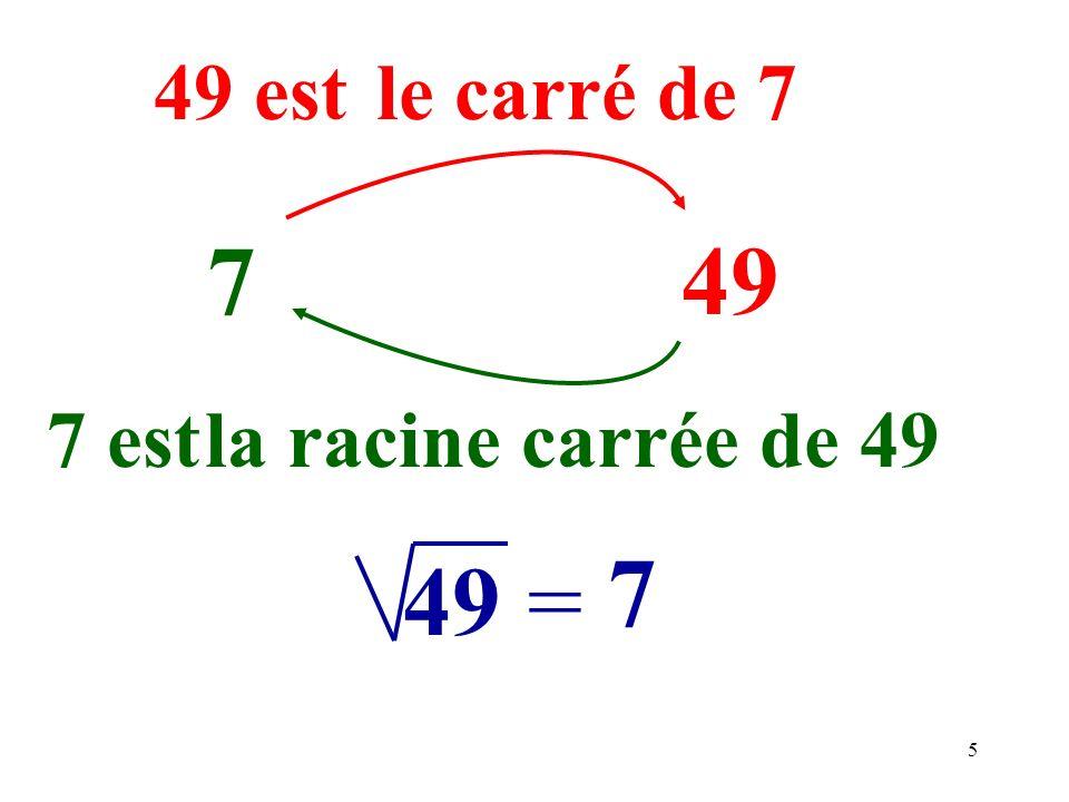 49 est le carré de 7 7 49 7 est la racine carrée de 49 7 49 =