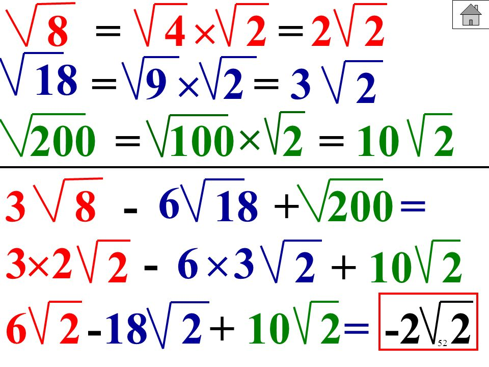 8= 4.  2. = 2. 2. 18. = 9.  2. = 3. 2.  200. = 100. 2. = 10. 2. 6. 3. 8. - 18. + 200. = 3. 2. -