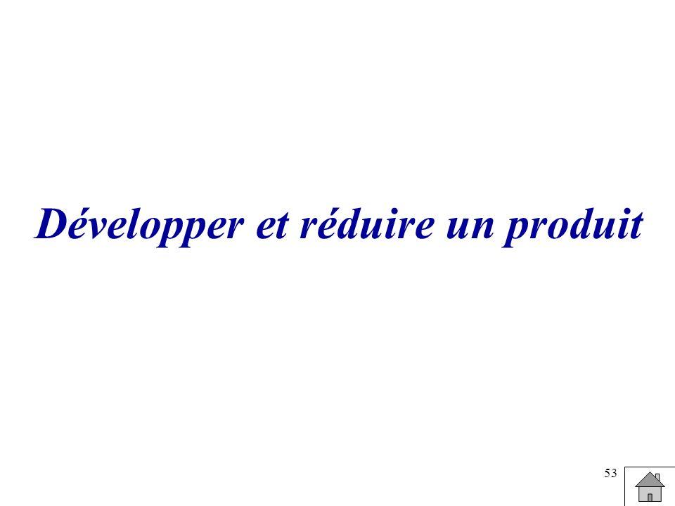 Développer et réduire un produit