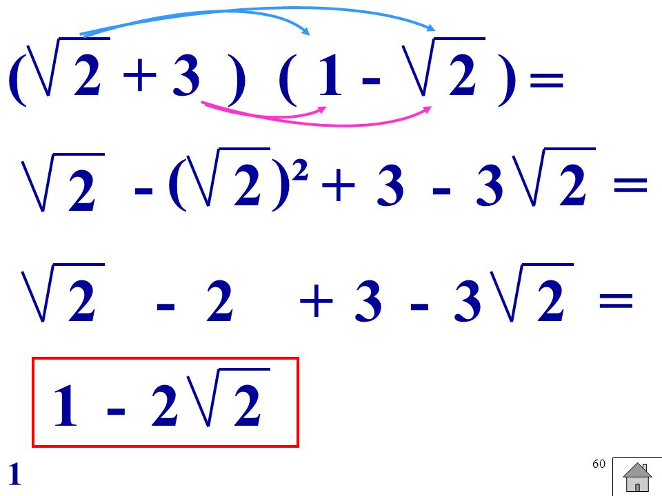 ( 2 + 3 ) ( 1 - 2 ) = ( )² - 2 + 3 - 3 2 = 2 2 - 2 + 3 - 3 2 = 1 - 2 2 1