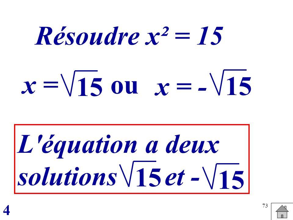 Résoudre x² = 15 x = ou 15 x = - 15 L équation a deux solutions et -