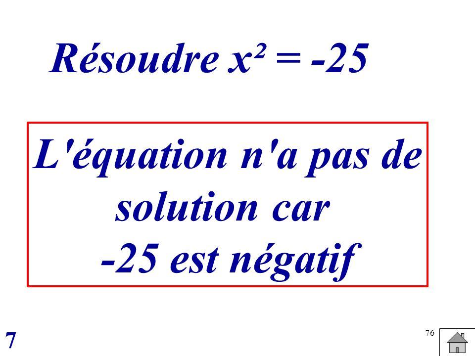 Résoudre x² = -25 L équation n a pas de solution car -25 est négatif