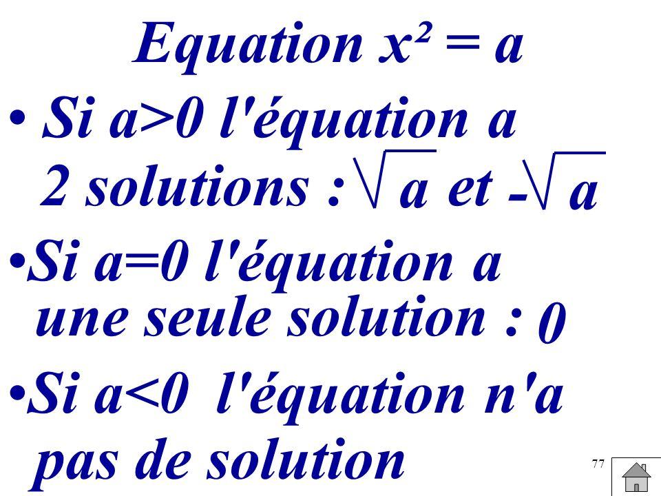 Equation x² = aSi a>0 l équation a. 2 solutions : a. et. a. - Si a=0 l équation a. une seule solution :