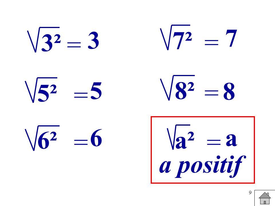 7² 3² 7 3 = = 5² 5 8² = 8 = 6² a² 6 a = = a positif