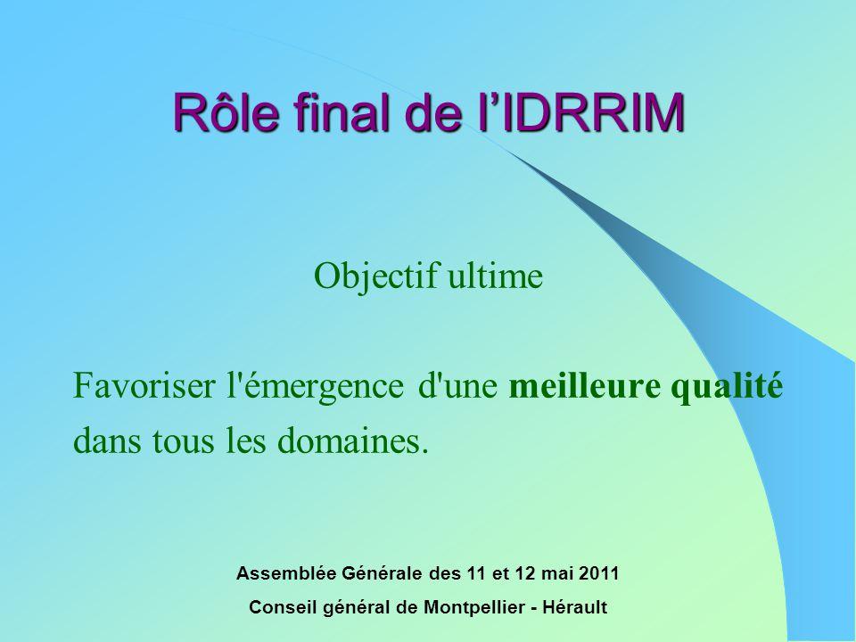 Rôle final de l'IDRRIM Objectif ultime