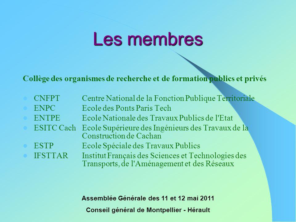 Les membres Collège des organismes de recherche et de formation publics et privés. CNFPT Centre National de la Fonction Publique Territoriale.