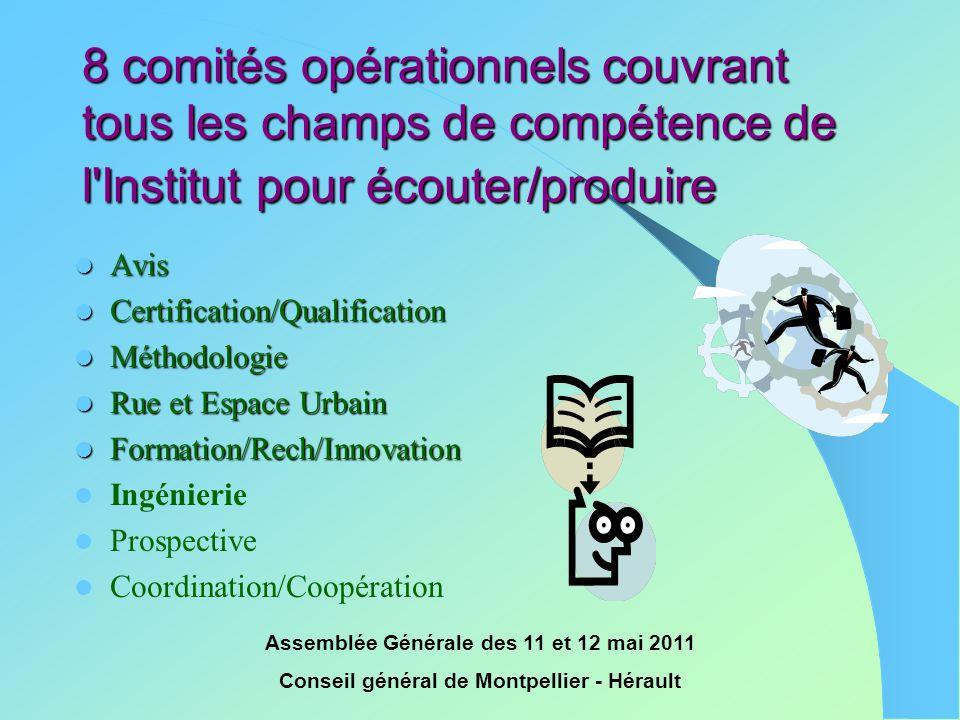 8 comités opérationnels couvrant tous les champs de compétence de l Institut pour écouter/produire