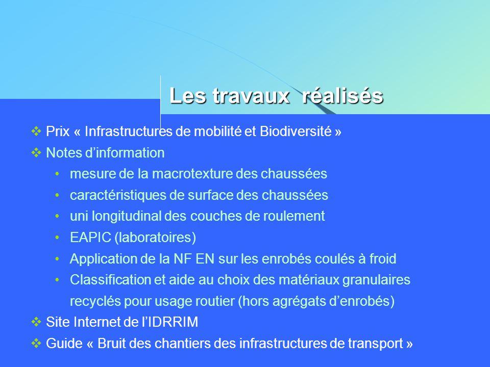 Les travaux réalisés Prix « Infrastructures de mobilité et Biodiversité » Notes d'information. mesure de la macrotexture des chaussées.