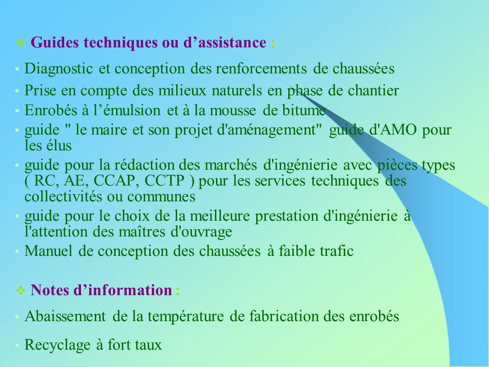 Guides techniques ou d'assistance :
