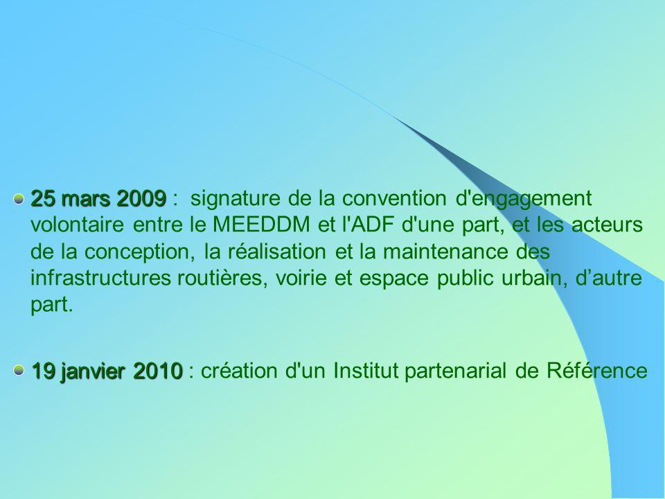 25 mars 2009 : signature de la convention d engagement volontaire entre le MEEDDM et l ADF d une part, et les acteurs de la conception, la réalisation et la maintenance des infrastructures routières, voirie et espace public urbain, d'autre part.