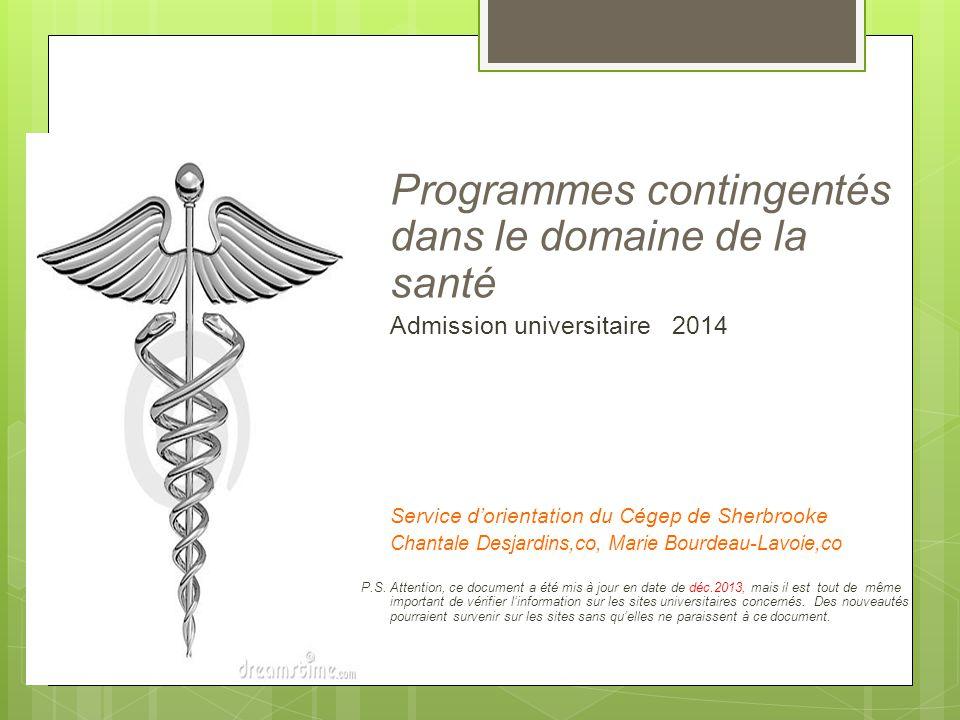 Programmes contingentés dans le domaine de la santé