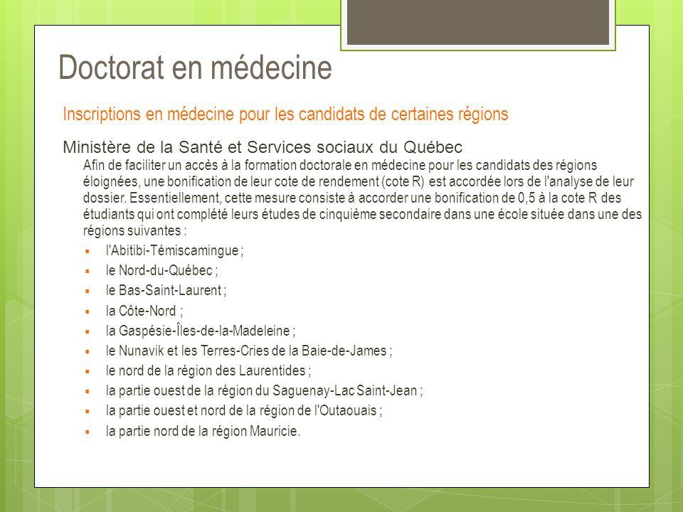 Doctorat en médecine Inscriptions en médecine pour les candidats de certaines régions.