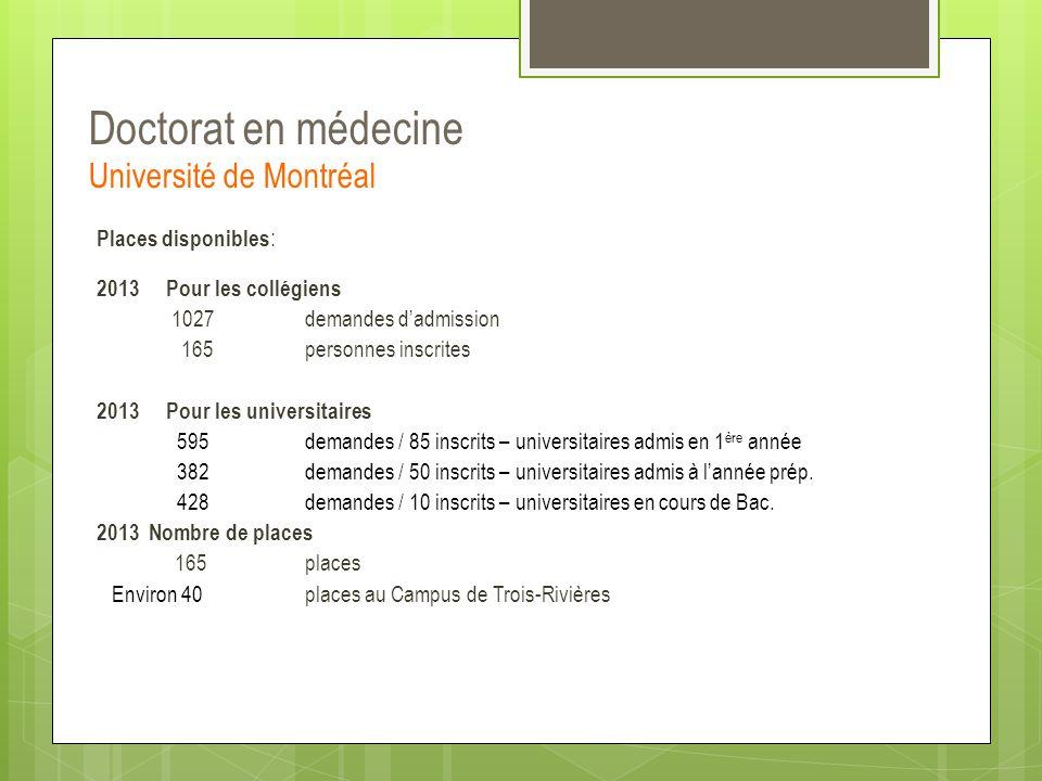 Doctorat en médecine Université de Montréal