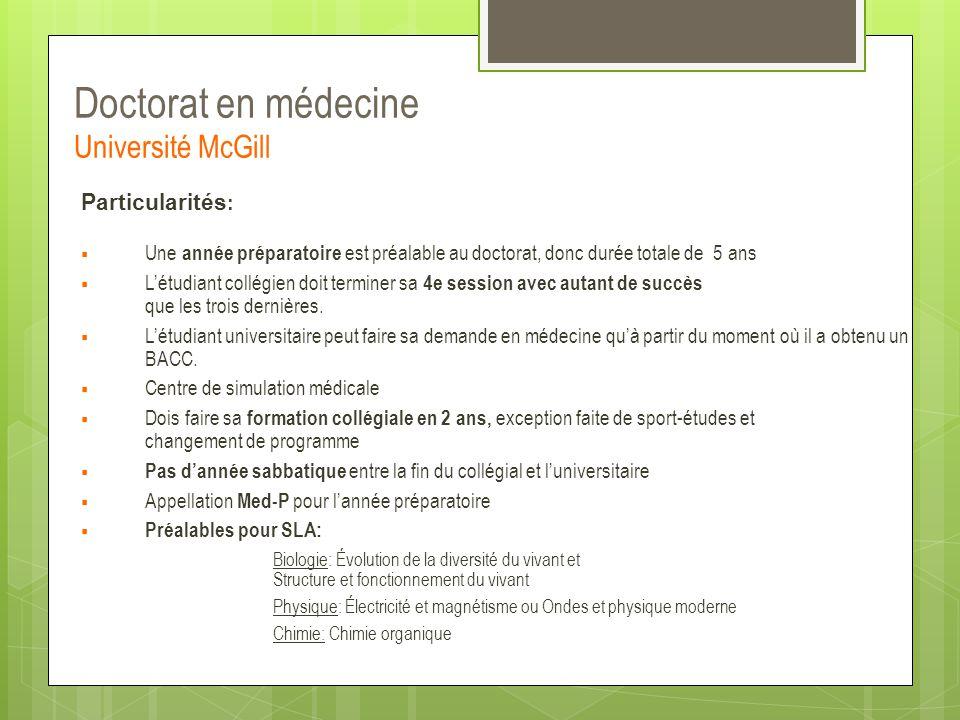Doctorat en médecine Université McGill