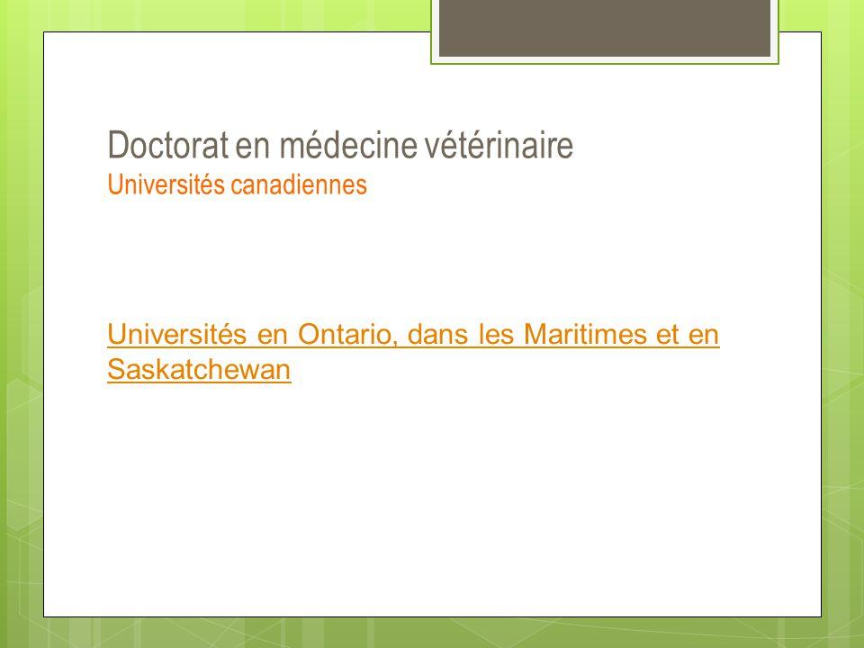 Doctorat en médecine vétérinaire Universités canadiennes