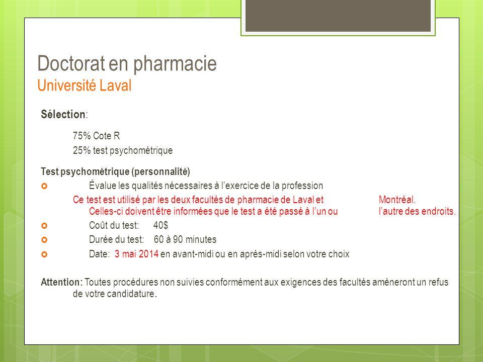 Doctorat en pharmacie Université Laval