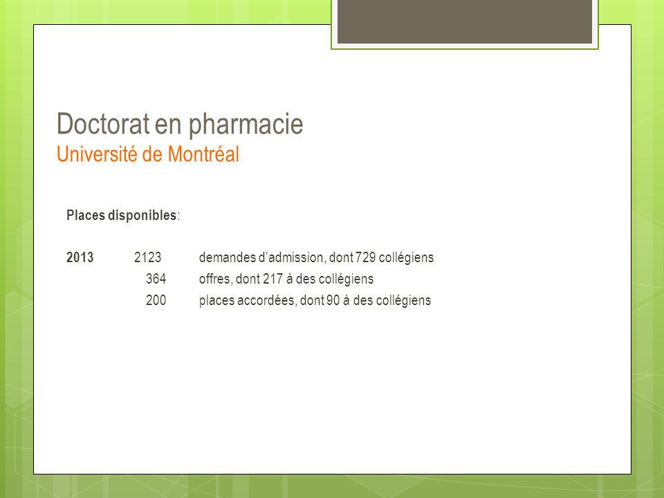 Doctorat en pharmacie Université de Montréal