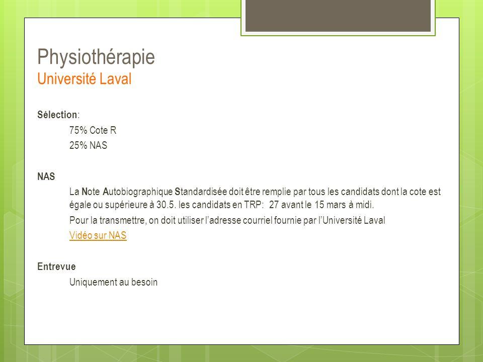 Physiothérapie Université Laval