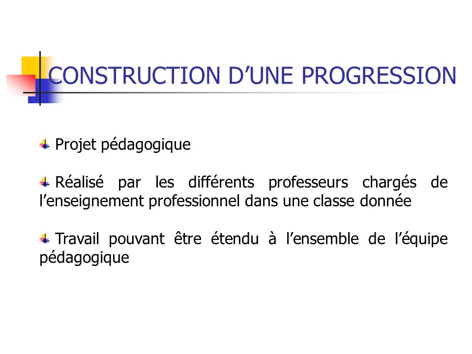 CONSTRUCTION D'UNE PROGRESSION