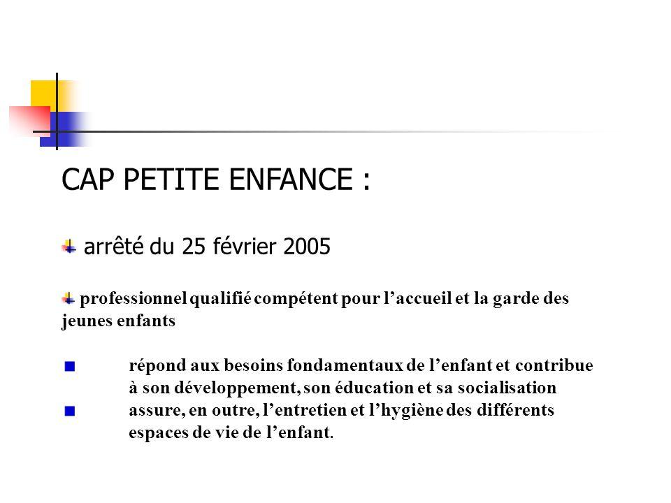 CAP PETITE ENFANCE : arrêté du 25 février 2005