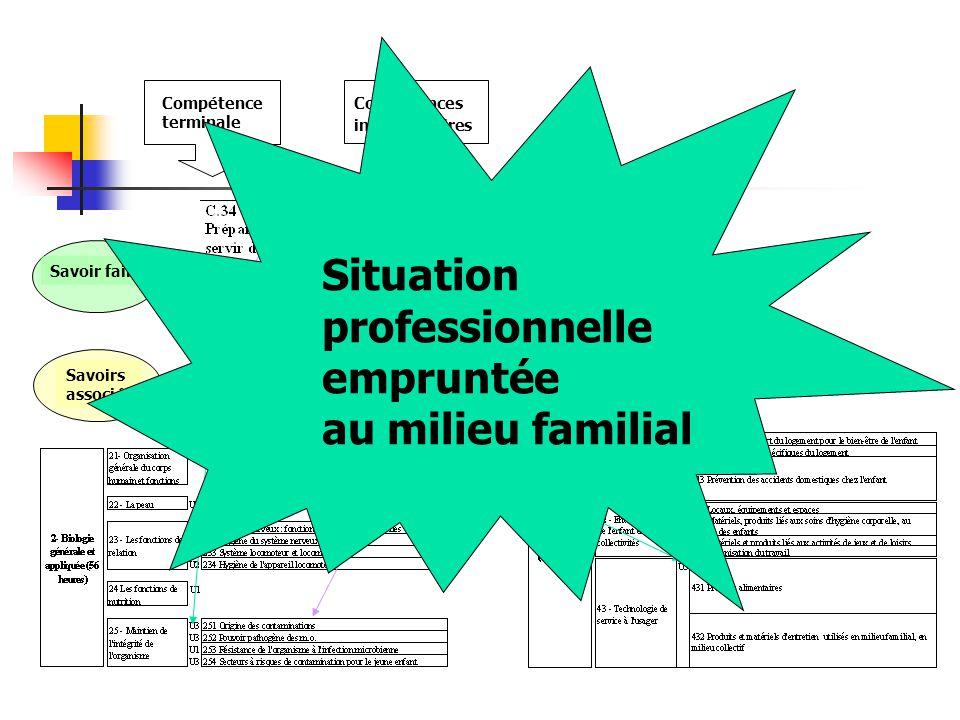 Situation professionnelle empruntée au milieu familial Compétences