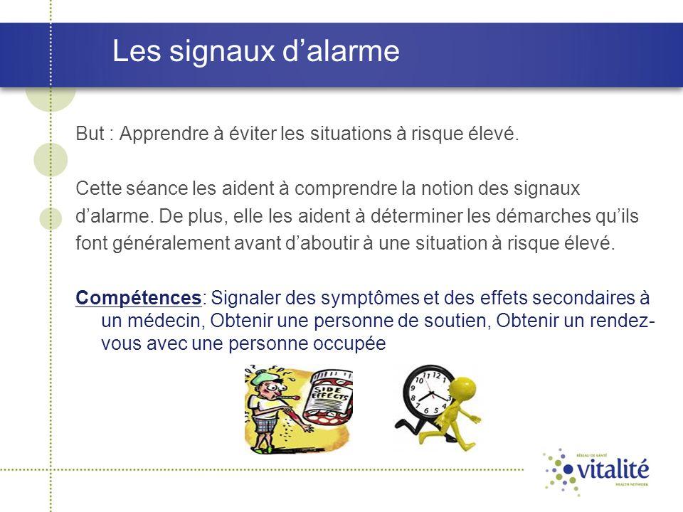 Les signaux d'alarme But : Apprendre à éviter les situations à risque élevé. Cette séance les aident à comprendre la notion des signaux.