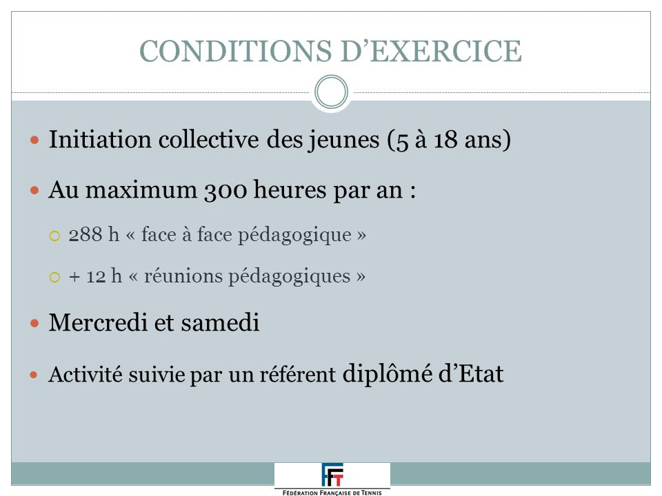 CONDITIONS D'EXERCICE