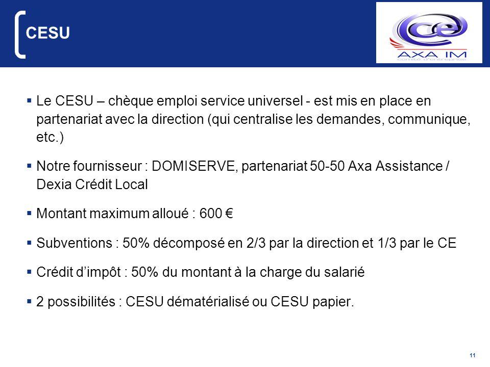 CESULe CESU – chèque emploi service universel - est mis en place en partenariat avec la direction (qui centralise les demandes, communique, etc.)