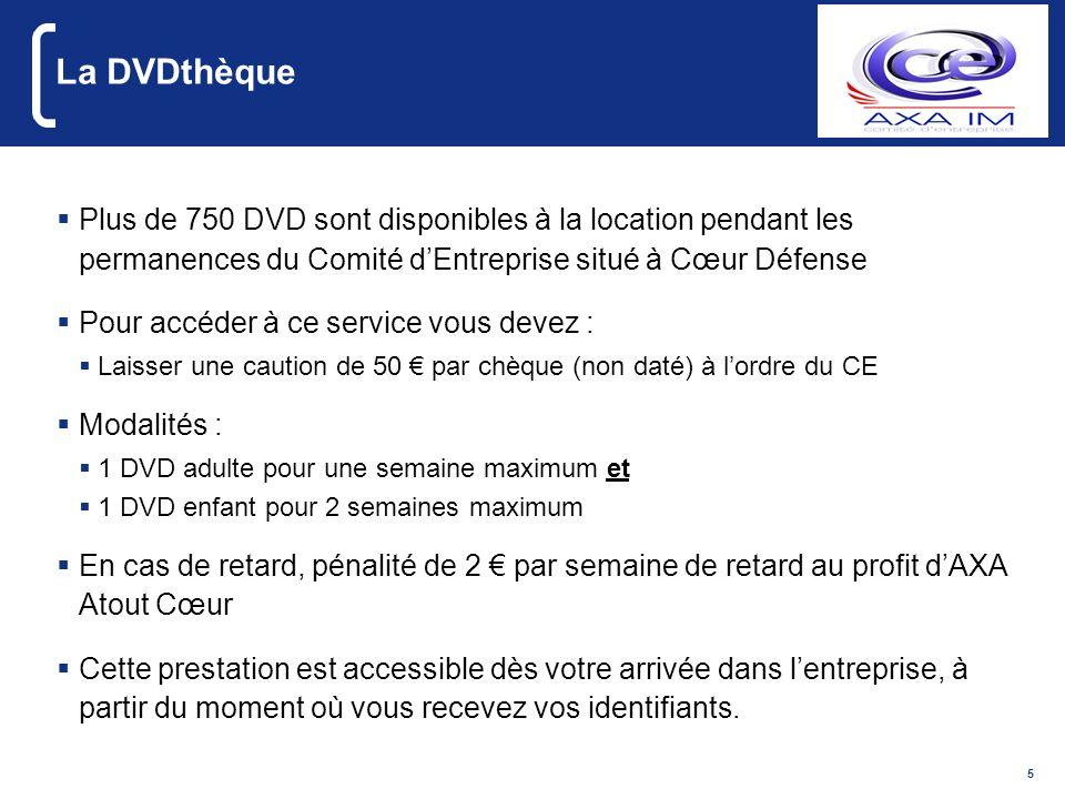 La DVDthèquePlus de 750 DVD sont disponibles à la location pendant les permanences du Comité d'Entreprise situé à Cœur Défense.