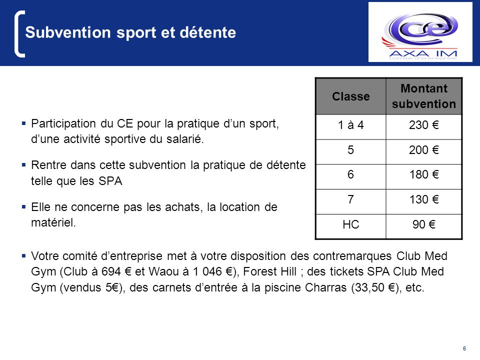 Subvention sport et détente