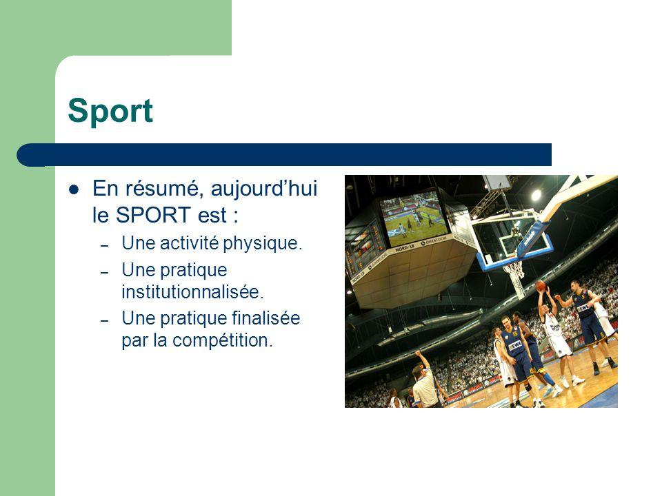 Sport En résumé, aujourd'hui le SPORT est : Une activité physique.