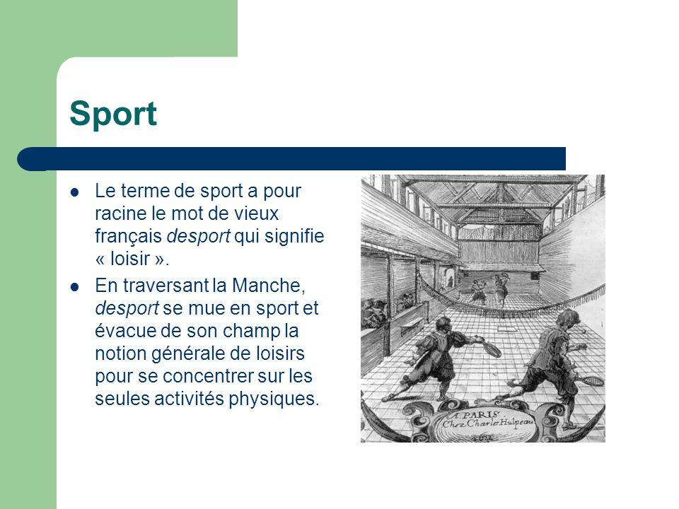 Sport Le terme de sport a pour racine le mot de vieux français desport qui signifie « loisir ».