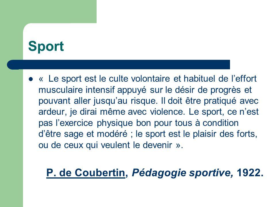 Sport P. de Coubertin, Pédagogie sportive, 1922.
