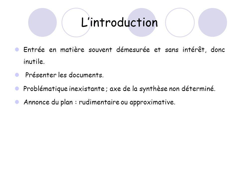 L'introduction Entrée en matière souvent démesurée et sans intérêt, donc inutile. Présenter les documents.