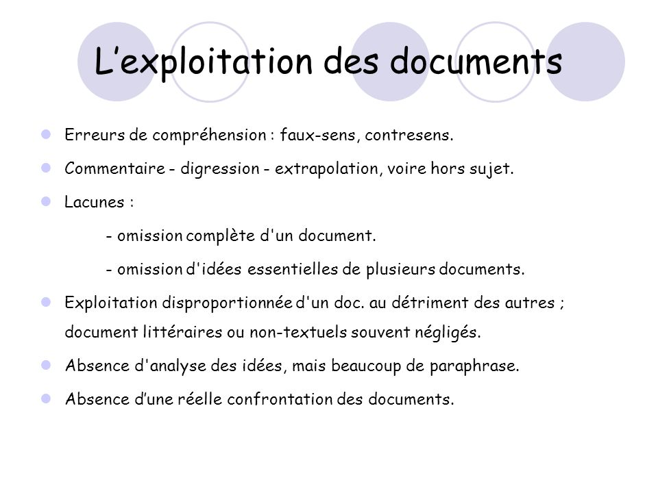 L'exploitation des documents