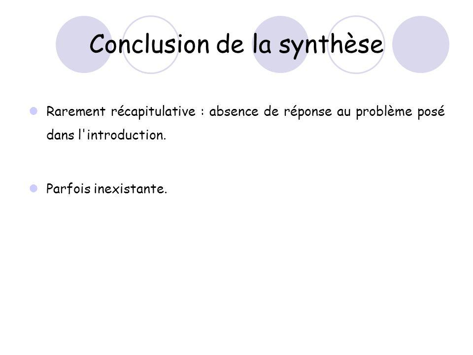 Conclusion de la synthèse