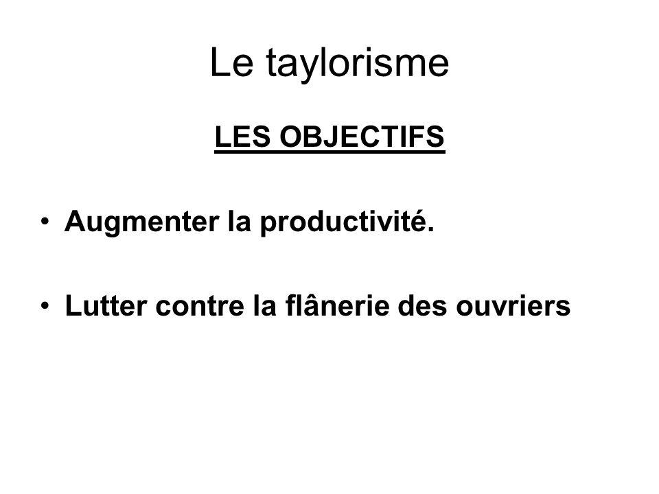 Le taylorisme LES OBJECTIFS Augmenter la productivité.